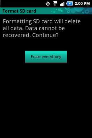 En la pantalla Format SD card, selecciona Erase everything