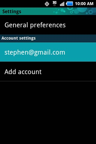 Settings with Email notifications