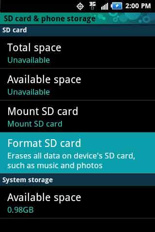 Storage settings con Erase SD card