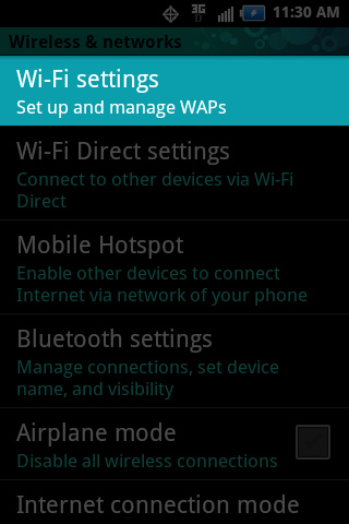 Wireless & network settings with Wi-Fi settings