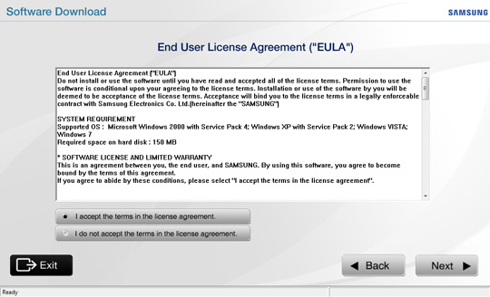 End User License Agreement screen, select I accept the terms in the license agreement, Next