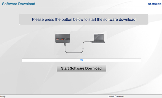 Software Download screen, Start Software Download