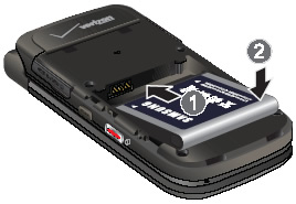 Alinea los contactos de la batería e inserta la batería