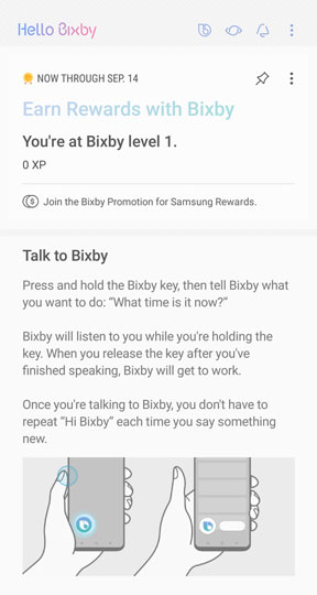 Bixby home screen.