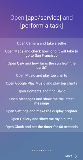 Bixby open and perform task screen