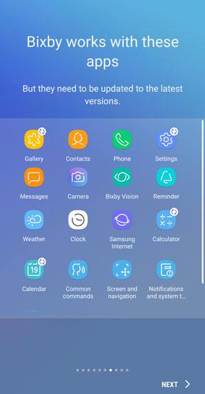 Bixby workign app list