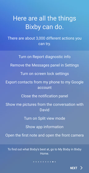 Bixby voice actions info screen