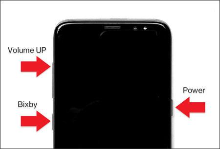 Dispositivo con énfasis en el aumento de volumen, Bixby y los botones de encendido.