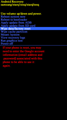Pantalla Android system recovery con opción wipe data/factory reset