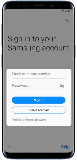 Sign in to your Samsung account
