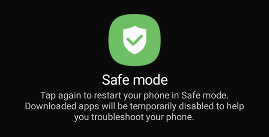 Safe mode prompt screen