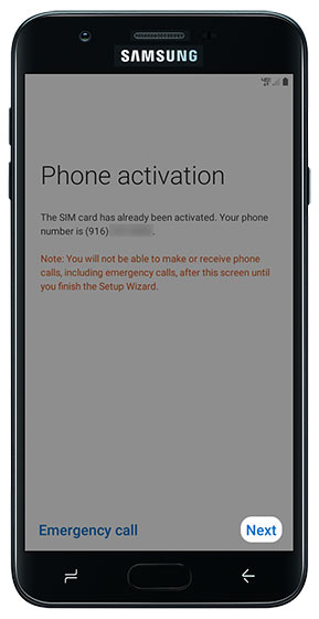 Phone activation screen