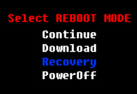 Select REBOOT MODE screen