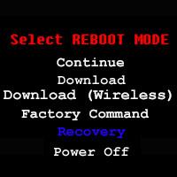 Select REBOOT MODE screen