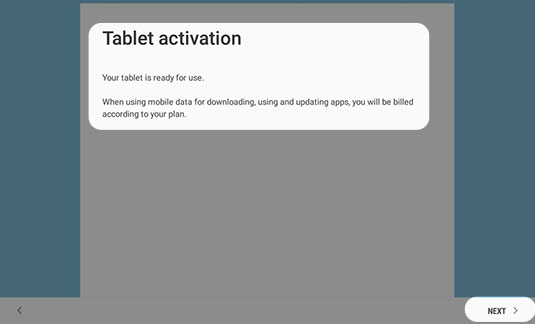 Activate your tablet