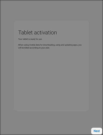 Tablet Activation screen