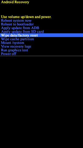 Android recovery screen with Wipe data/factory reset