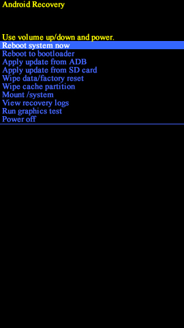 Android recovery screen with reboot system now