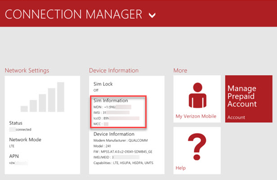 View connection manager info such as IMEI, ICCID, and MDN