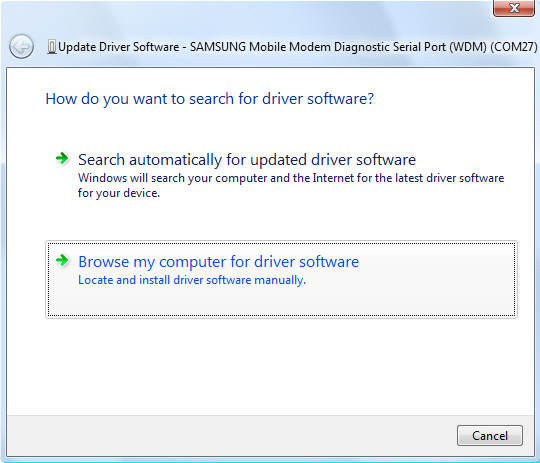 Update driver software screen 1