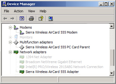 Windows Device Manager con dispositivos instalados