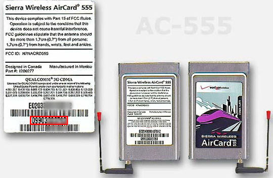 Rear of PC card - Information sticker