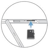 Cubierta de la ranura de la tarjeta microSD abierta