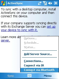 ActiveSync menu with Connect via Bluetooth selected=