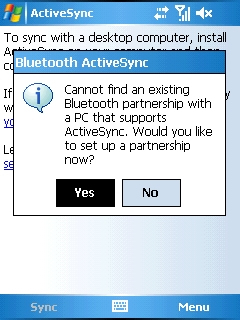 ActiveSync warning with Yes selected=