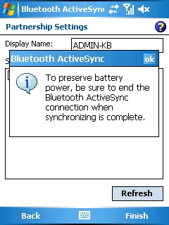 Bluetooth ActiveSync warning