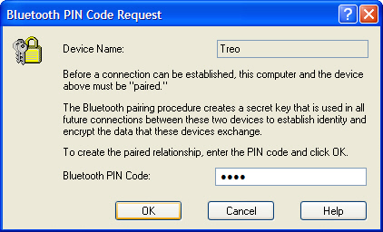 Widcomm Bluetooth PIN Code request screen with PIN code entered