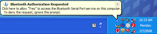 Widcomm Bluetooth authorization prompt