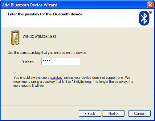 Add Bluetooth Device Wizard passkey screen with passkey entered