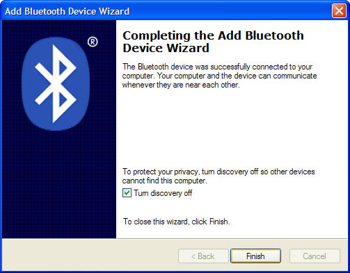 Add Bluetooth Device Wizard with Turn discovery off and Finish selected=