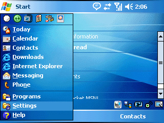 Image of the Start Menu with Settings selected