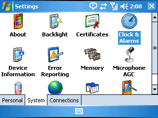 Image of the Settings screen with Clock & Alarms selected on the System tab