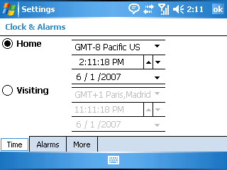 Image of the Clocks & Alarms Settings screen Time tab