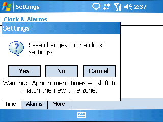 Image of the Clocks & Alarms save settings screen