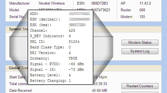Mifi Diagnostics screen with focus on Modem Status PRL ID / ERI Version