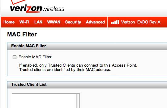 Habilitar filtro de MAC