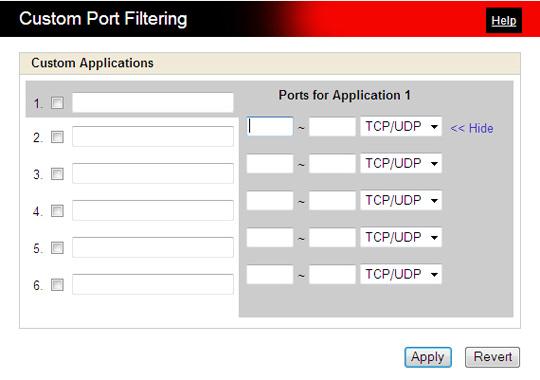Filtros de puerto personalizados