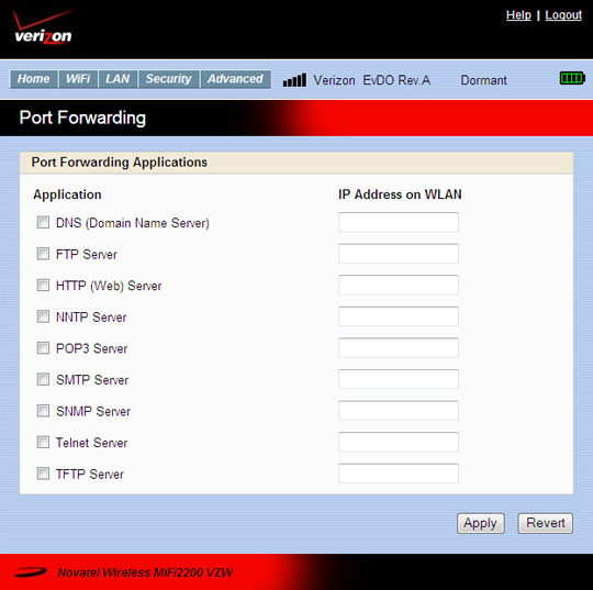 Port forwarding screen