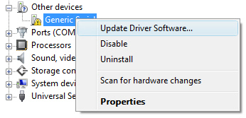Device conflict in Device Manager with with focus on selecting Update Driver