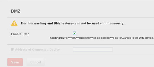 Port Forwarding with Enable DMZ