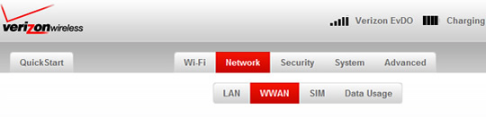 Network tab with WWAN