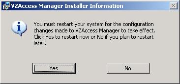 Pantalla Installer Information de advertencia de reinicio solicitada