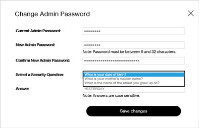 5G Home admin password change page