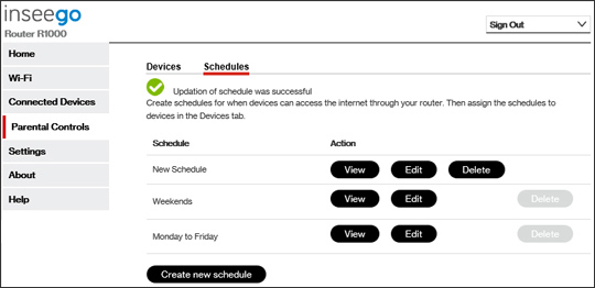 Router Parental Controls existing schedules sceen.