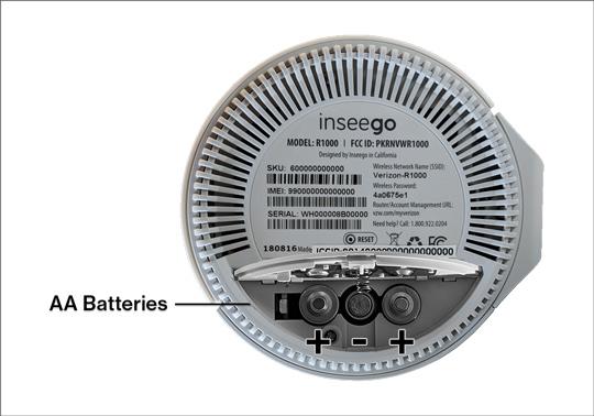 Verizon 5G Home Router bottom with battery door open
