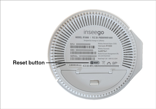 Verizon 5G Home Router bottom with emphasis on Reset button
